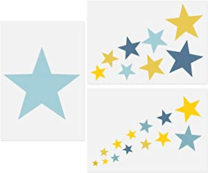 """Star Stencils, 3 Pcs Stars Templates A4 Size Assorted Size Stars Cluster Reusable Stencils for DIY Crafts Painting Home Decor Baby Kids Nursery Bedroom 11.7""""x 8.26"""""""
