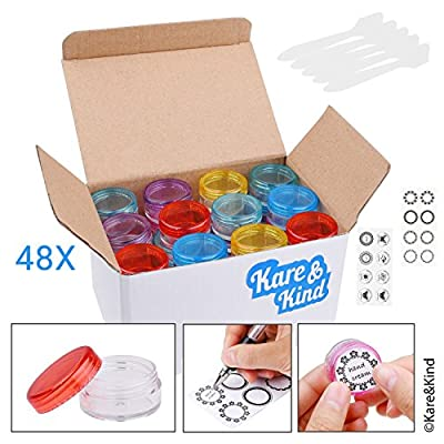 Kare & Kind 48 packs DIY Natural Empty Lip Balm Container pot jars, Cosmetic Containers, with Clear Screw Cap Lids , 5 GRAM, Including lip balm stickers