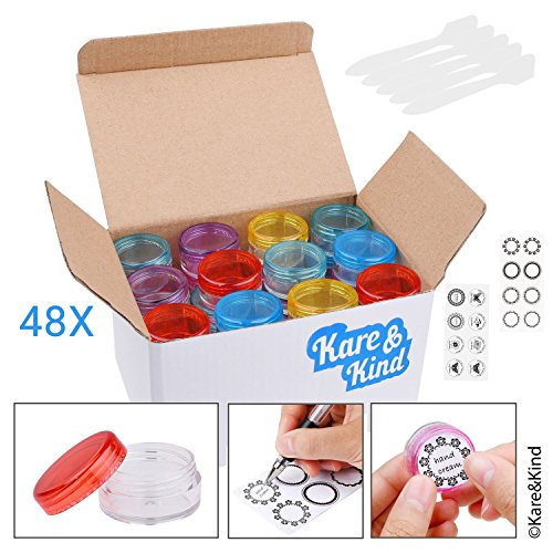 Kare & Kind Lip Balm Container Jars - For Cosmetics - 48-Pack - 6 colors - DIY - Transparent - 5 Gram (5 ml/0.17 Oz) - Including 48 Writeable & 48 Printed Lip Balm Stickers - Screw Cap Lids - Empty
