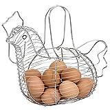 Home Basics - Cesta colgante de acero con forma de gallina, para cocina, decoración para huevos, frutas y verduras, cromada