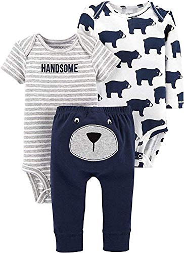 Carter's Baby Boys' 3-Piece Little Character Pants Set (Navy/Heather Bears, -