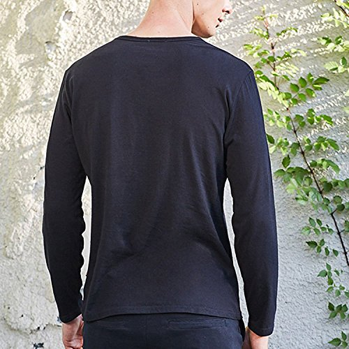 Zhuhaitf Fashion Casual Mens Long-Sleeve Cotton T-shirts Soft Crew-Neck Shirts Tops Black