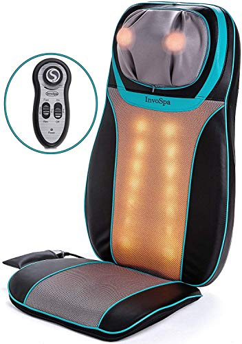 (Shiatsu Back & Neck Seat Cushion Massager Chair - Massage Pad with Soothing Heat Function, Rolling, Kneading & Vibration - Full Back & Shoulder Deep Tissue to Relieve Muscle Pain - for Home & Office)
