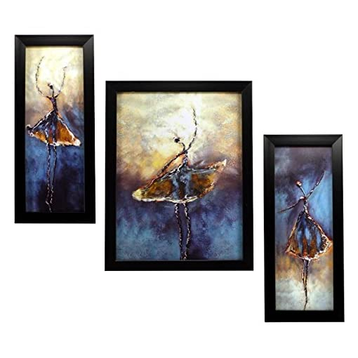 INDIANARA 3 PC SET OF MODERN ART PAINTINGS 1105 WITHOUT GL