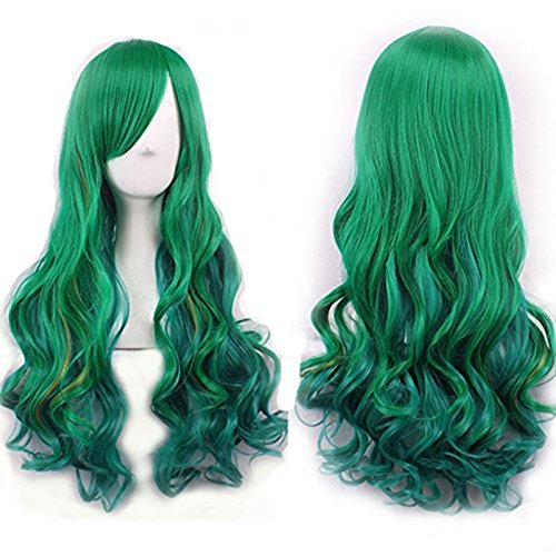 [Netgo Women's Green Wig Long Curly Hair Heat Resistant Fiber Wigs Harajuku Lolita Style for Cosplay] (Neon Green Wigs)