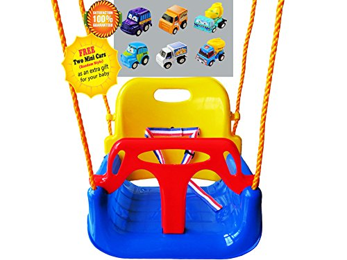 Littlefun 3-in-1 Infant to Toddler Upgrade Swing Anti-flip Snug & Secure Detachable Children Outdoor Play Patio Garden Amusement Park Equipment Bonus Mini Cars Gifts(Color:Blue Chair) by Littlefun