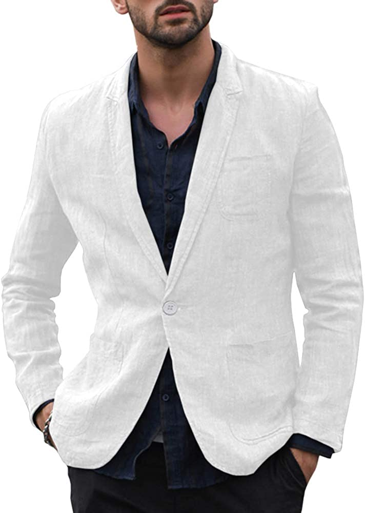 Taoliyuan Mens Linen Blazer Casual Sport Coat Tailored Slim Fit Lightweight Half Lined Versatile Suit Jacket