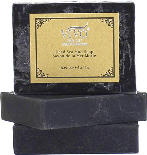 Vivo Per Lei Dead Sea Soap   Acne Soap with Dead Sea Salt   Bamboo Charcoal Soap for Pores   Get Irresistible Skin with this Exfoliating Soap Bar   Dead Sea Mud Soap for Gentle Cleansing (3 pack)