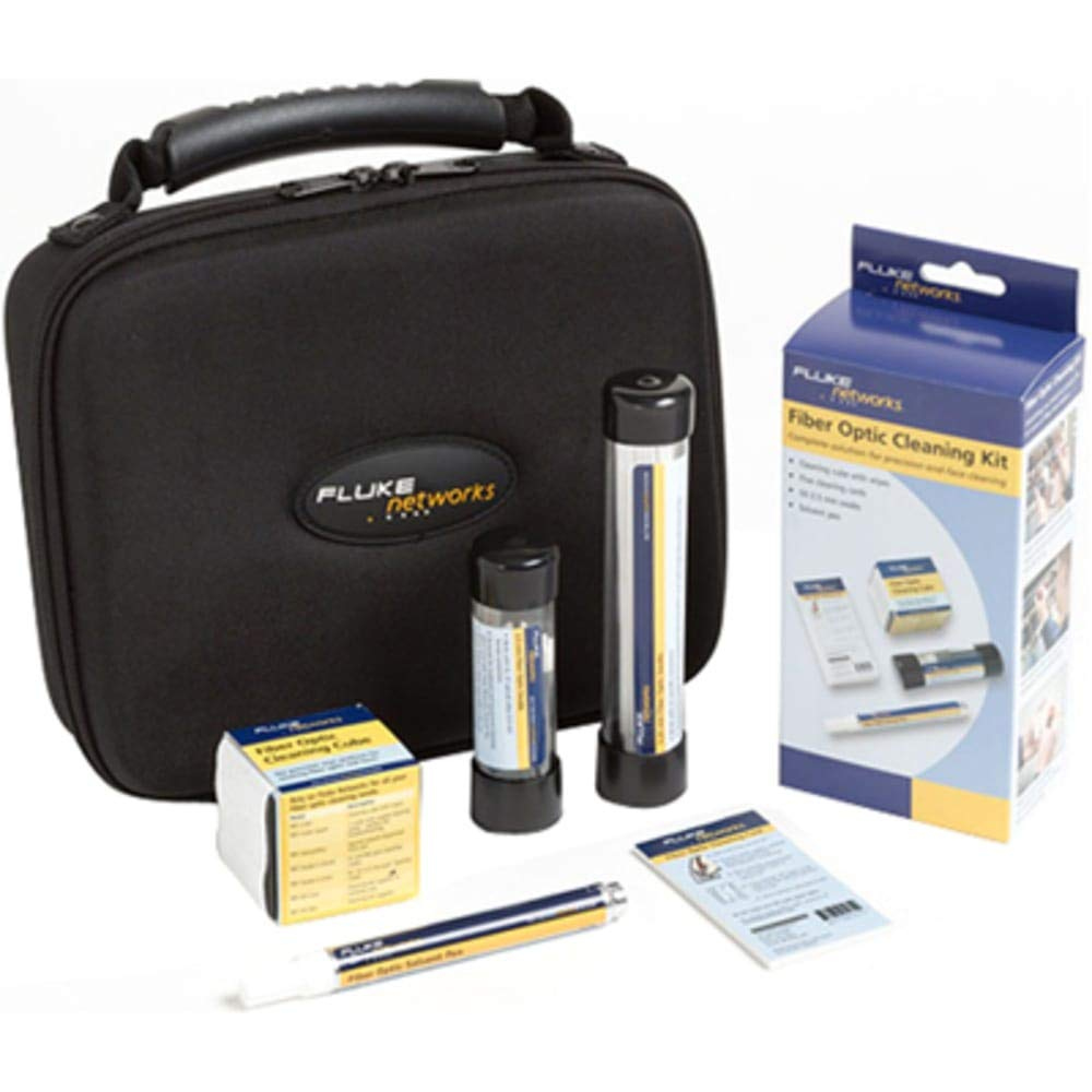 Fiber Optic Cleaning Kit; Cube w/Wipes; 10 Cards w/Zones; Solvent Pen; Swabs w/Case
