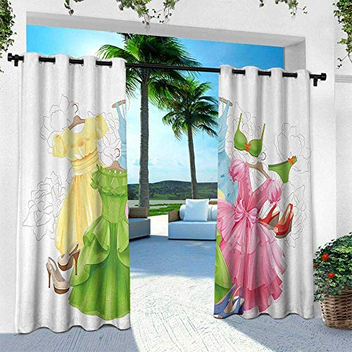 Ashton Wardrobe - Heels and Dresses, Patio Curtains,Princess Outfits Bikini Shoes Wardrobe Party Costumes in Girls Design, W84 x L96 Inch, Multicolor