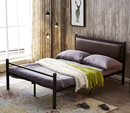 Queen Size Steel Bed (Green Forest Bed Frame Queen Size PU Leather Classic Headboard with Steel Support Slats,Upholstered Platform Bed frame,Queen)