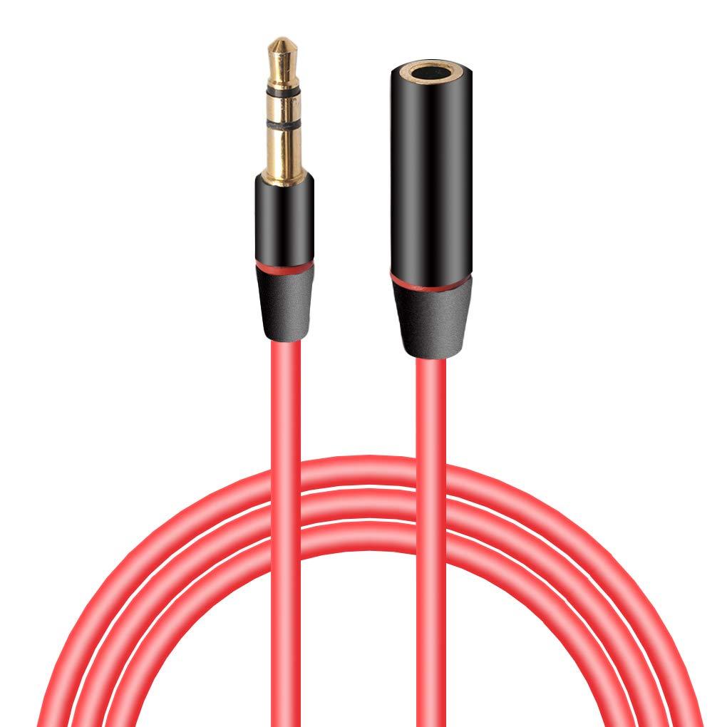 MUANI Audiosprach Kopfhörer-Verlängerungskabel-Draht-Schnur-Linie Stereo-Stecker-Adapter Red 3.5 männlich zu weiblich