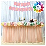 B-COOL Tulle Tutu Table Skirt 3 Yards Rose Gold Table Cloth Skirting for Baby Shower Wedding Party Cake Table Girl Princess Decoration (L9(ft) H 30in)