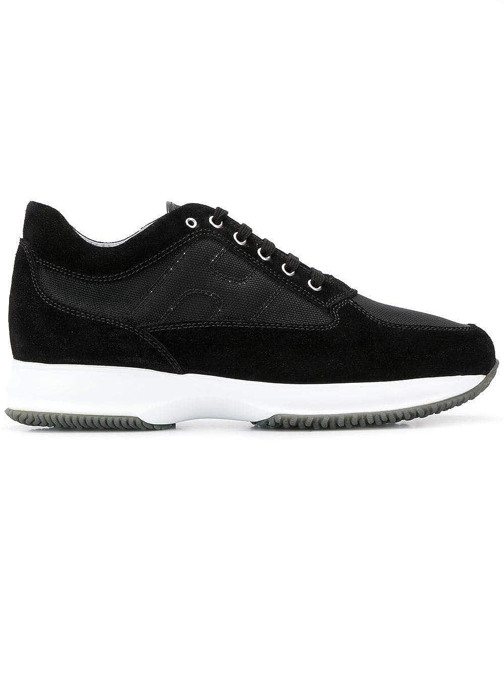 - Hogan Men's HXM00N00E10B2AB999 Black Leather Sneakers