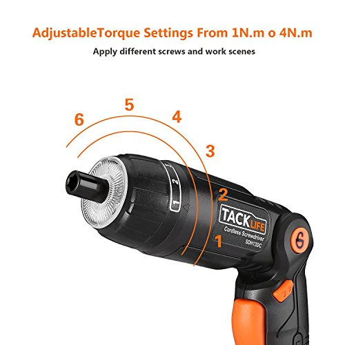 Tacklife SDH13DC Cordless Screwdriver 3.6-Volt 2000mAh MAX Torque 4N.m - 3-Position Rechargeable - 31 Screwdriver Bits in Case, 4 LED Light, Flashlight, USB Charging for Around House Small Jobs by TACKLIFE (Image #2)