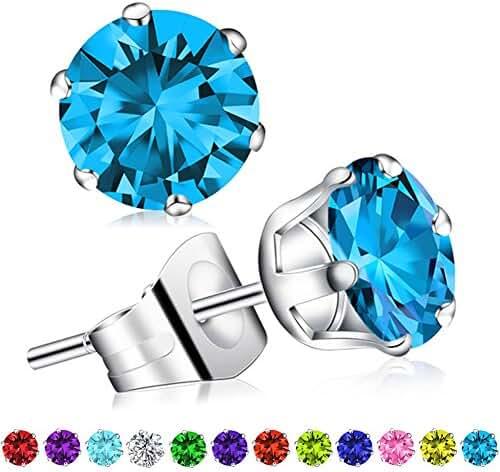 Birthstone Stud Earrings, Swarovski Element AAA Cubic Zirconia Stainless Steel Earrings for Women Girls
