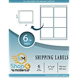 "Shop4Mailers 6-up White Shipping Labels 3 1/3"" x 4"" ~ 100 Sheets, 600 Labels"