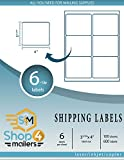Shop4Mailers 6-Up White Shipping Labels 3 1/3'' x 4'' ~ 100 Sheets, 600 Labels