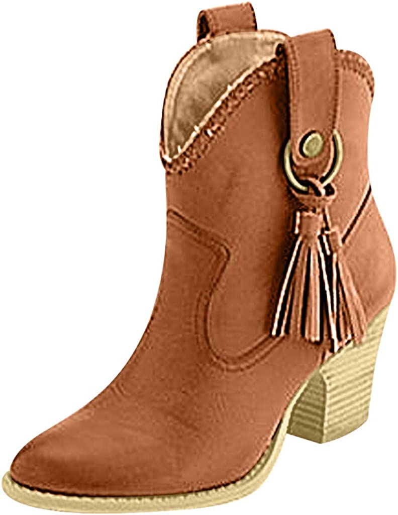 Miuye yuren-Shoe Snow Boots for Womens Chunky Heel Booties and Ankle Boots Large Size Chunky Heel Fashion Walking Shoes