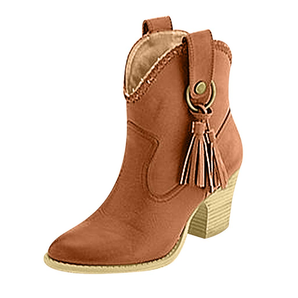 〓COOlCCI〓Chelsea Boot - Casual Tassel High Heel Pointed Toe Slip On Ankle Bootie Western Boot Designer Boots Loafers Yellow by COOlCCI_Shoes