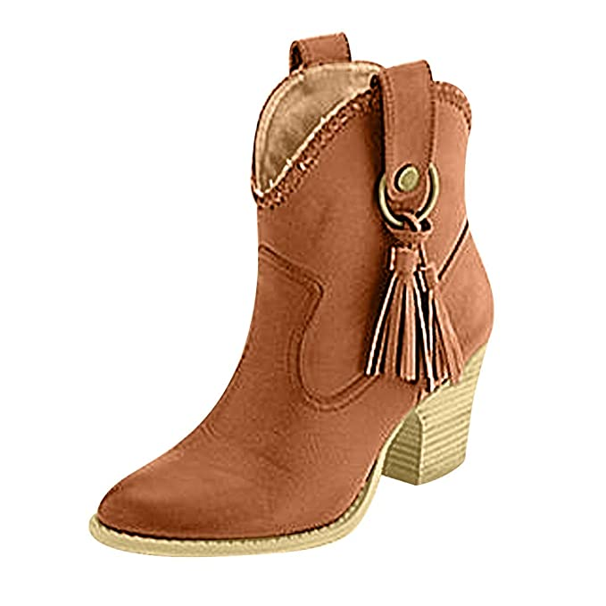 Moda Mujeres Zapatos de Tacón Borla Botas Cortas ZARLLE Talla ...
