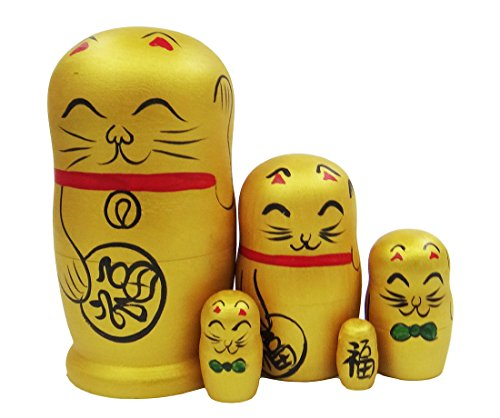 Arsdoll Lovely Fortune Lucky Cat Nesting Doll Wooden Matryoshka Russian Doll Handmade Stacking Toy Set 5 Pieces For Kids Girl Mother's Day Gifts Home Decoration(Yellow)