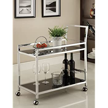 Chrome Metal Bar Tea Serving Cart With Black Tempered Glass
