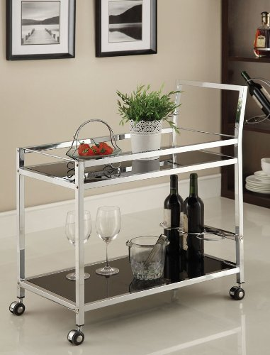 Modern Bar Cart (Chrome Metal Bar Tea Serving Cart With Black Tempered)