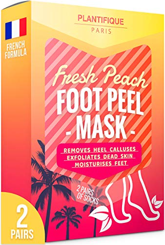 Plantifique Foot Peel Mask - 2X Pairs of Baby Foot Peeling Masks for Callus Removal, Dead Skin and Cracked Heel Treatment - Unisex Peach Scented Foot Care Treatment to Get Baby Soft Feet in 7 Days