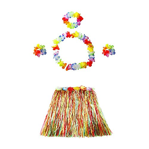 TraderPlus Elastic Hawaiian Hula Dancer Grass Luau Skirt with Flower Costume Set for Kids Adult (15.7-inche for Kid, Rainbow)