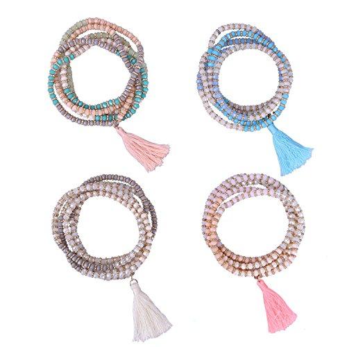 KELITCH Crysta AB Beaded Long Necklace Color Tassel Pendant Women Strand Bracelet Summer