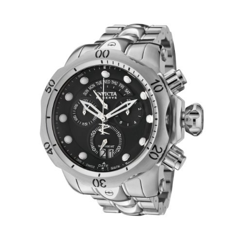 Invicta Men's 1539 Reserve Venom Chronograph Black Dial Stainless Steel Watch