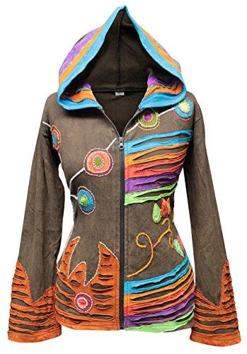 Shopoholic Grunge Emo gótico de Hippie para mujer, diseño de chaqueta con capucha de algodón, diseño retro marrón