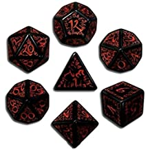 Custom & Unique {Standard Medium} 7 Ct Pack Set of [D4, D6, D8, D10, D12, D20] Assorted Polyhedral Shapes Opaque Numbered Playing & Game Dice w/ Mythical Dark Elven Font Font Design [Black & Red] by mySimple Products