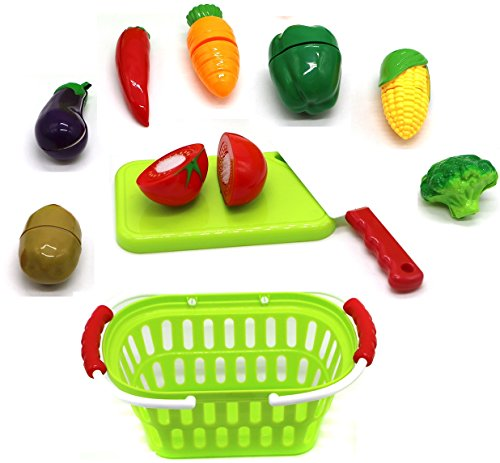 Little Treasures Kitchen Playset for kids 3+ colorful cutting food playset with a handy, spacious veggie basket accommodating eggplant, tomato, capsicum, corn, pepper, and broccoli; all easy to cut (Kids Food Baskets)