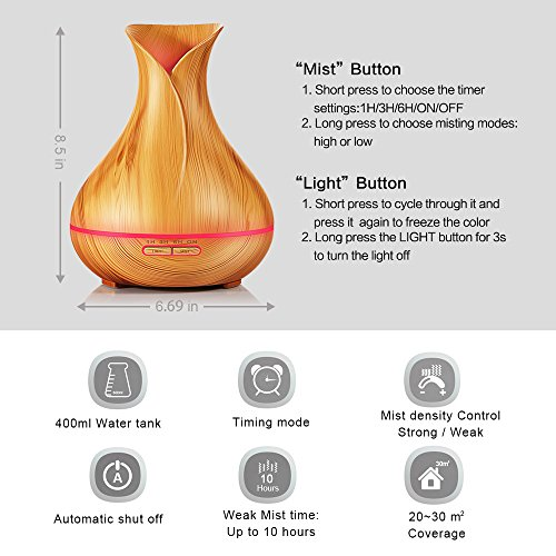 -[ KBAYBO Aroma Diffuser Cool Mist Air Humidifier Ultrasonic Essential Oil Diffuser Wood Grain,7 Co
