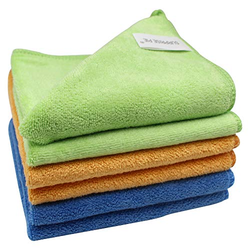"12""x12"" Microfiber Cleaning Cloth 6PCS 3 Colors(Green Blue Orange) Reusable Wash Clothes for House Boat Car Window Cleaner 2PCS Screen Cloth as Gift"