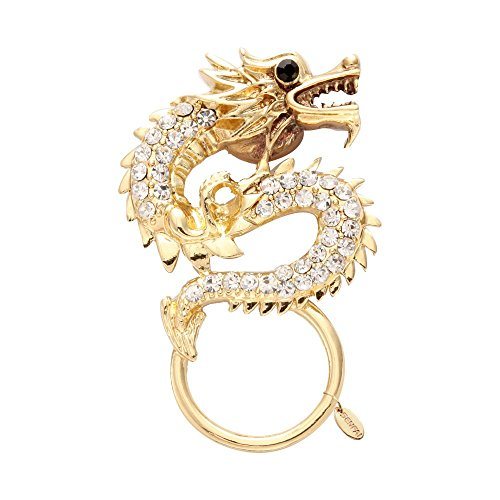 Dragon Sunglasses Pin (SENFAI China Style Gold Plated Dragon with White Crystal Eyeglass Magnet Holder (Gold))