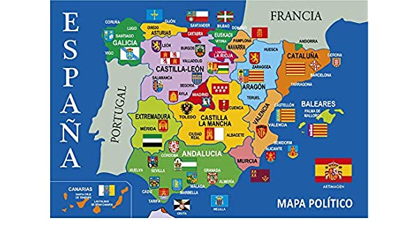 Postal Mapa Político de España Azul 16x11 cm.: Amazon.es: Oficina ...