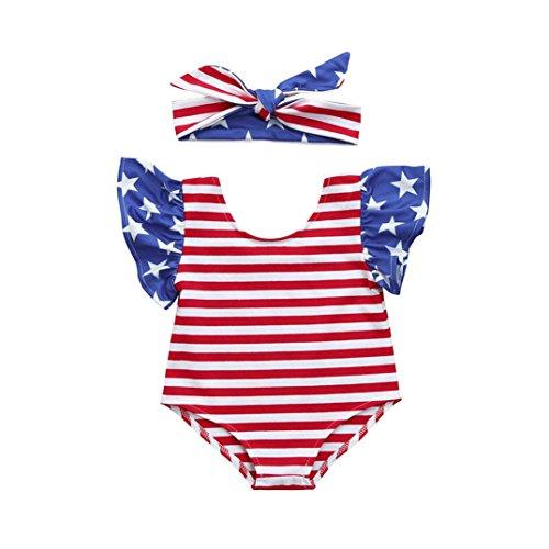 Jarsh - Conjunto de chubasquero y diadema para bebés y niñas, diseño de estrellas, a rayas, Rojo, 0-3 Meses