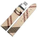 Choco&Man US Burberry Calfskin Leather Watch Band Deployment Butterfly Buckle with Spring Bar and Spring Bars Bonus Replacement for Men's Burberry Watches