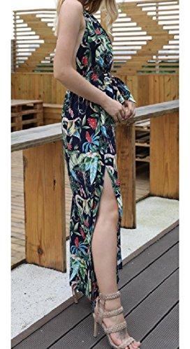 Boho Stampato donne Fiore Pattern1 Tagliato Coolred Slittamento Vestito Backless Spiaggia Xqp1KwO