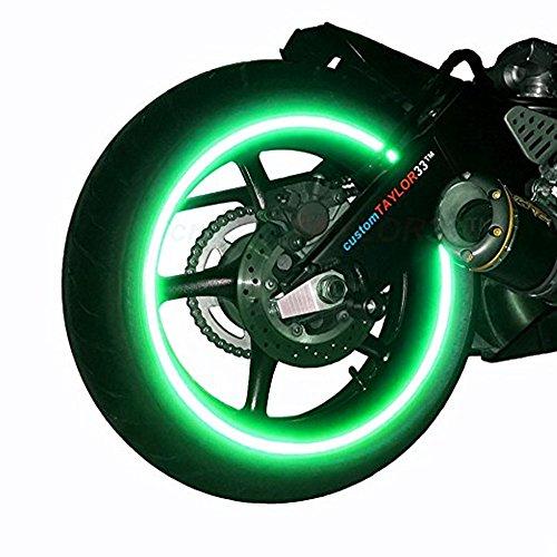 INSFIRE Universal Car Motorcycle Scooter Wheel Safety Rim Stripe Reflective Decal Sticker Tire Tape for Yamaha Honda KTM Suzuki Kawasaki Aprilia (Green)