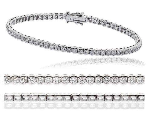 3.40CT Certified G/VS2 Round Brilliant Cut Rubover Diamond Tennis Bracelet in 18K White Gold