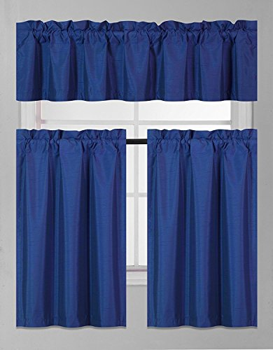 Fancy Collection 3 Pieces Faux Silk Blackout Kitchen Curtain