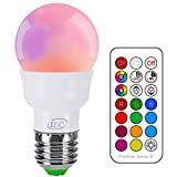iLC RGB LED Light Bulb, Color Changing Light Bulb Dimmable 3W E26 Screw Base RGBW, Mood Light - Dual Memory - 12 Color Choices