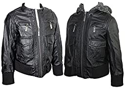 KIDS Biker LEATHER JACKET Detachable Hood Baby Winter Premium Quality _5K3568SS (3T, Black)