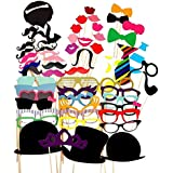 Hippomee Photo Booth Props Party Props DIY Kit for Wedding Reunions Birthdays Party Dress-up Costume Accessories Party favors with Mustache Hats Glasses Lips Bowties (58 piece)