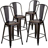 "Flash Furniture High Distressed Metal Indoor Counter Height Stool (4 Pack), 24"", Copper"