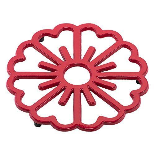 Old Dutch Bloom Trivet, Tango Red Red Cast Iron Trivet